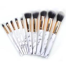 10 piece marble makeup brushes set powder