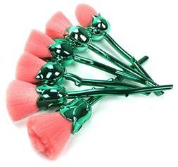 6 Piece Rose Gold Pink Makeup Brushes Set Powder Soft Make U
