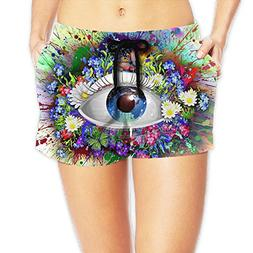 Women Splash Of Cartoon Eyes Hipster Beach Walk Shorts
