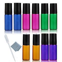 ELFENSTALL 10pcs Amber/Blue/Green/Pink/Purple 5ml Roll on Gl