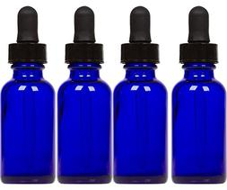 Cobalt Glass Bottles with Eye Droppers  For Essential Oils,