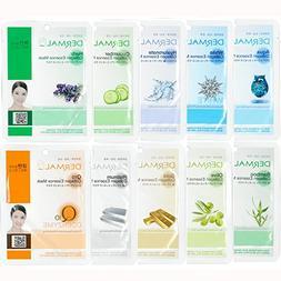 Dermal Collagen Essence Full Face Facial Mask Sheet 8 Combo