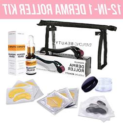 Derma Roller Kit 12-in-1 and Vitamin C Hyaluronic Acid Serum