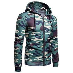 kaifongfu Men Camouflage Long Sleeve Tee Hooded Sweatshirt T