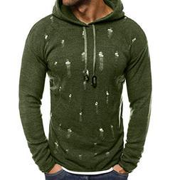 kaifongfu Men Sweater Top,Ripped Hole Pullover Knitted Hoodi