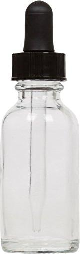 1 oz Clear Glass Boston Round Bottle w/ Black Glass Dropper