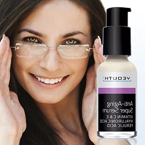 Anti-aging Super Serum, Ferulic Acid, Vitamin C, E, Hyaluronic YEOUTH. Night Day Reduces Visible Aging, Unscented