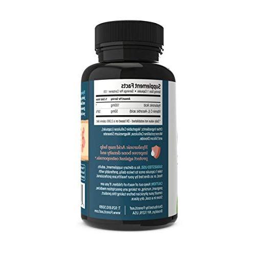 Hyaluronic Acid 100 mg - 120 Vegetable Capsules – Bones Connective Formula Anti Aging Healthy