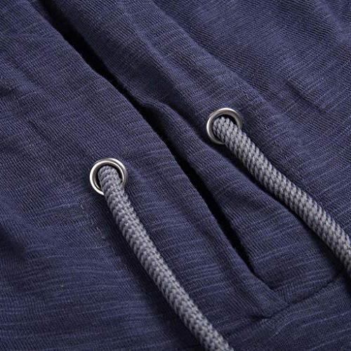 kaifongfu T-Shirt,Men Long Striped T-Shirt Round Zip-Fitting Tops Blouse