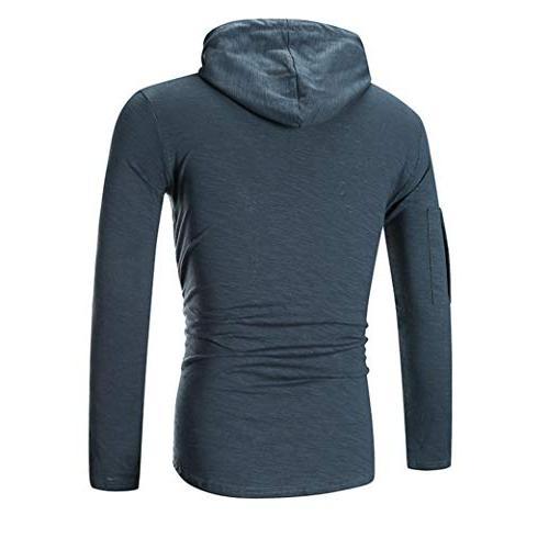 kaifongfu T-Shirt,Men Long Striped T-Shirt Zip-Fitting utumn Blouse