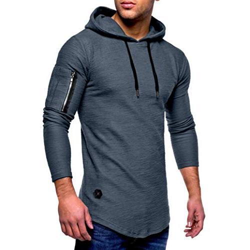 kaifongfu T-Shirt,Men Long Sleeve Striped T-Shirt Round Neck