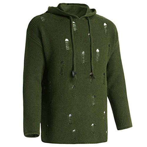 kaifongfu Men Hole Pullover Knitted Sweater GreenL