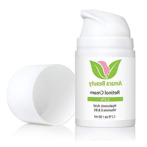 Retinol Cream Face 2.5% Hyaluronic Acid & Vitamins E B5,