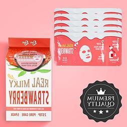LOVLUV Real Milky Strawberry Face Masks, K Beauty Moisturizi