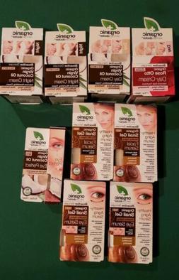 Organic Virgin Coconut Oil Day & Night Creams, Snail Gel Eye