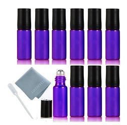 ELFENSTALL 10pcs Purple 5ml Roll on Glass Bottle for Essenti