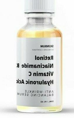 Retinol, Niacinamide B3, Vitamin C, Hyaluronic Acid, Anti-Ag