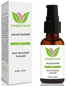 Amara Organics Retinol Serum 2.5% with Hyaluronic Acid & Vit